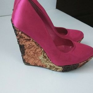 Priveleged Pink Brown Sequin Wedge Shoes Size: 6.5